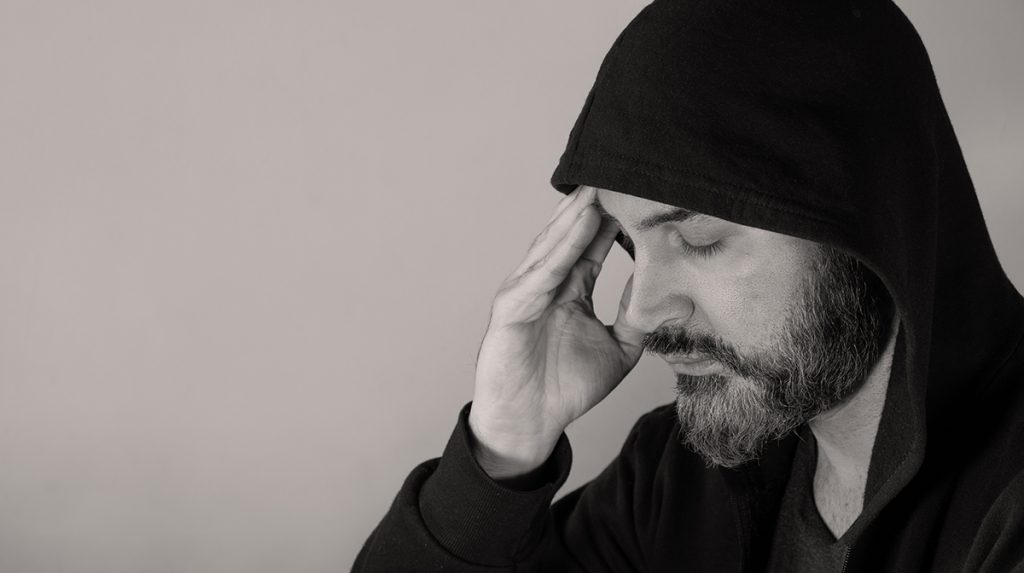 Man affected by poor mental health