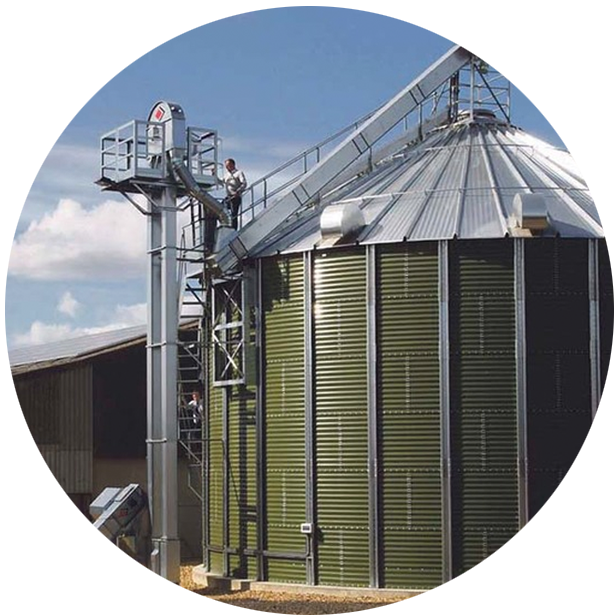 Farmer working from height on grain silo