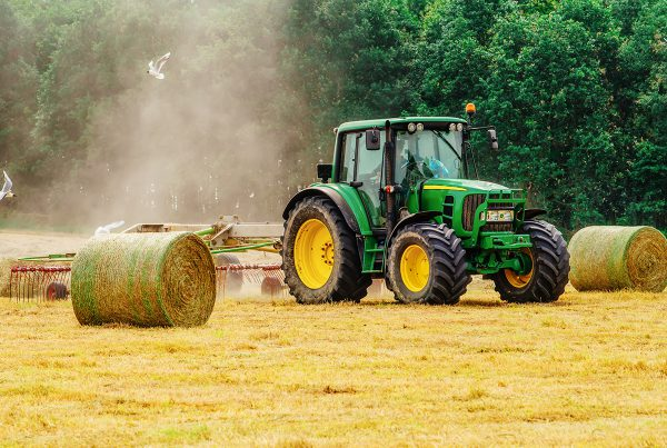 lone worker tractor cutting hay